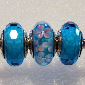 3 pc Authentic Pandora Glass Bead Charms
